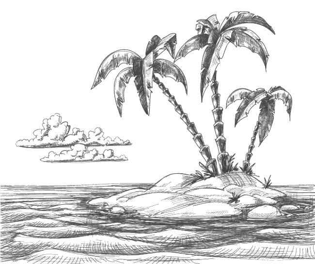 clip art transparent stock Beach sketch pencil transprent. Drawing island