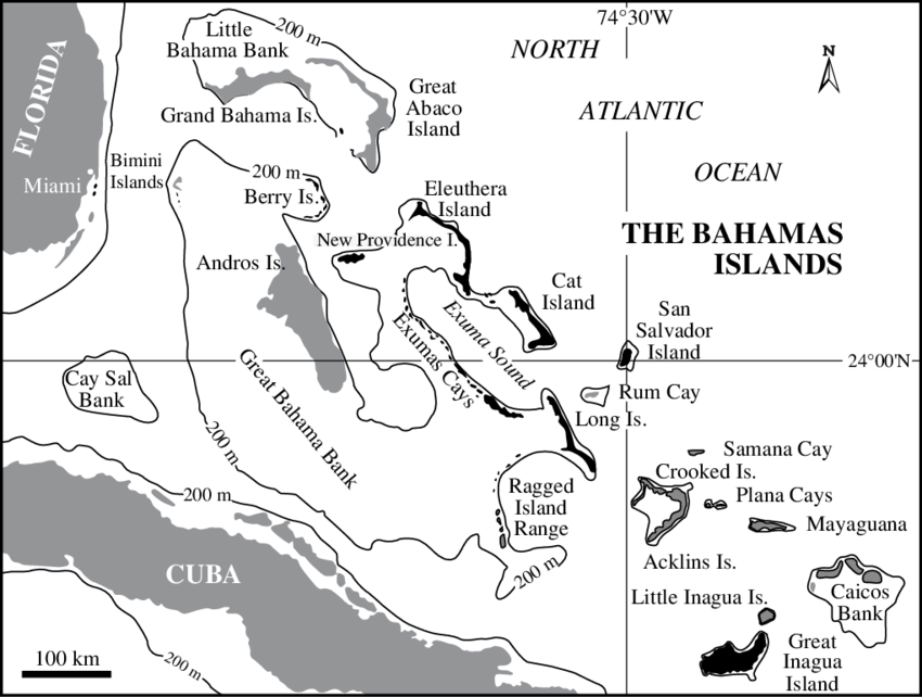 png free Map of the Bahamas showing location of study islands in black