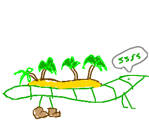 svg free Drawing island paradise. Worm lizard with back