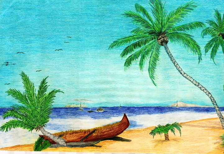 clipart freeuse download Kfmconcepts art gallery drawings. Drawing island paradise