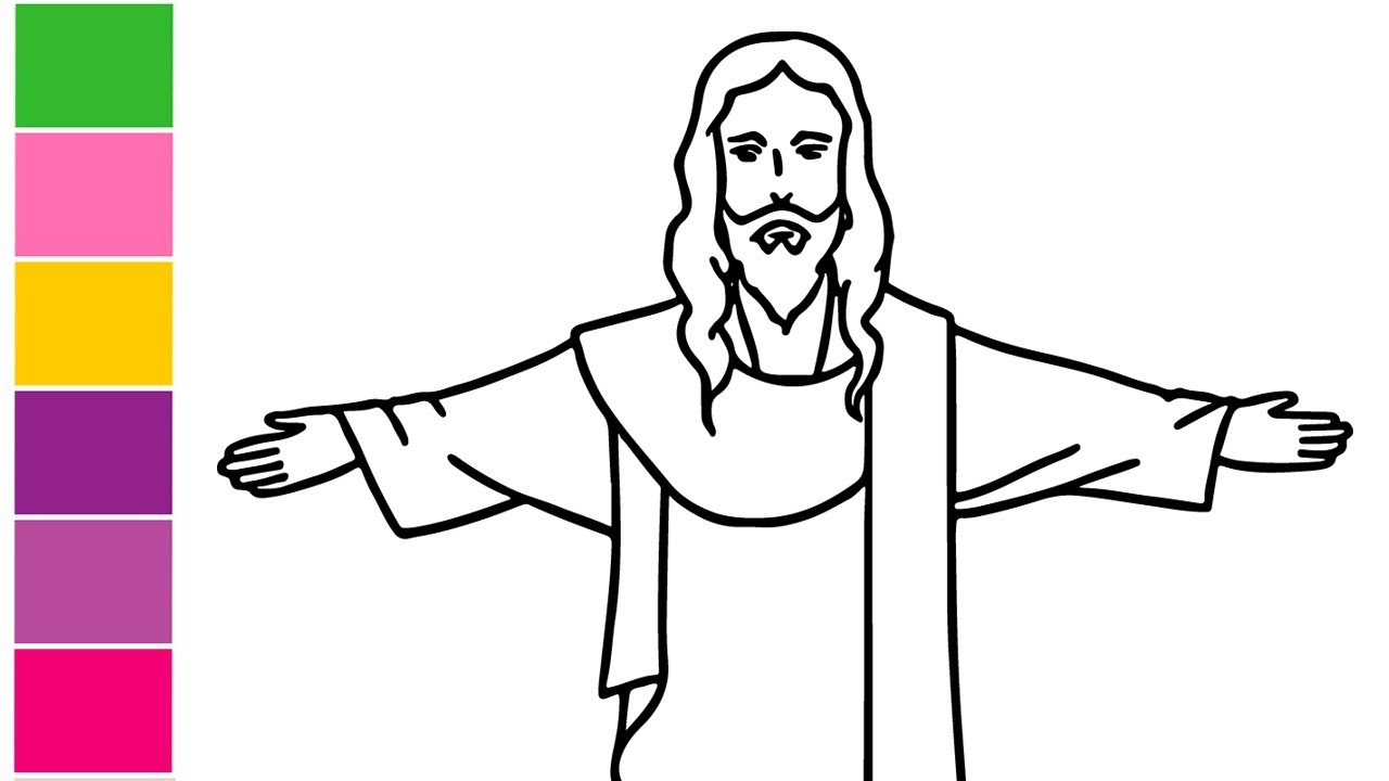 vector freeuse library Drawing jesus. How to draw christ