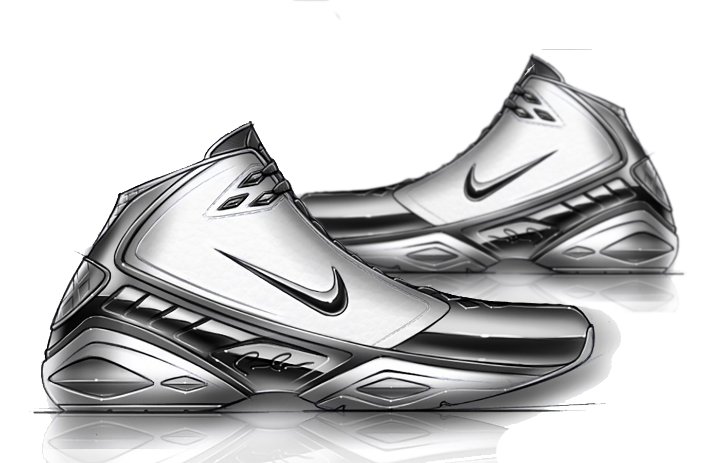 picture library Drawing sneakers sketch. Shoe nike air jordan