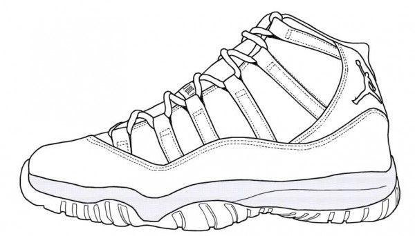 jpg black and white stock Drawing sneakers jordan 11. Blue air retro legend