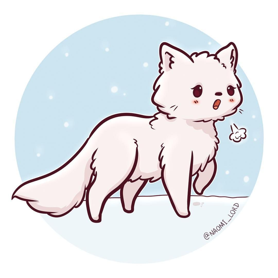 graphic black and white Cute pet pin by. Drawing kawaii arctic fox