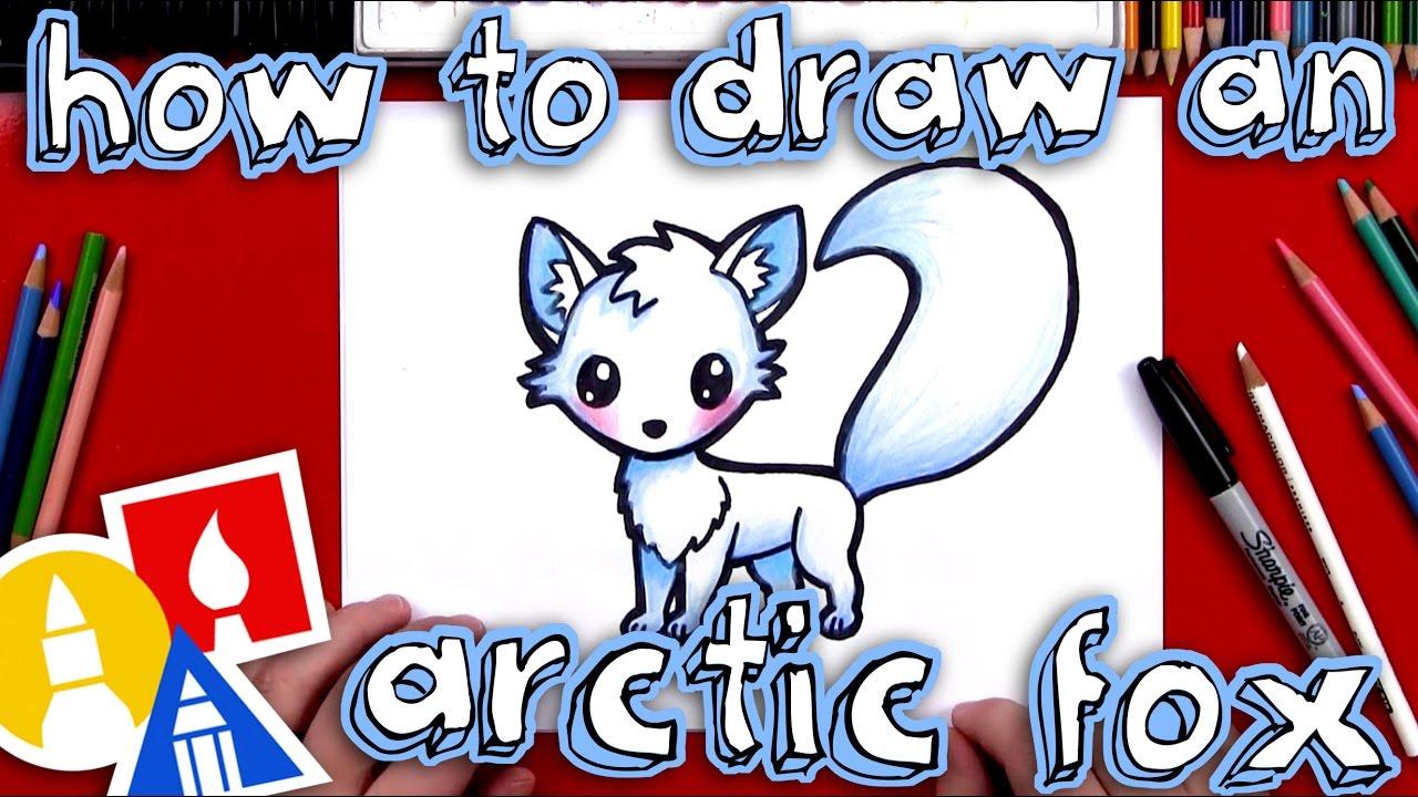 royalty free stock Drawing kawaii arctic fox. How to draw an