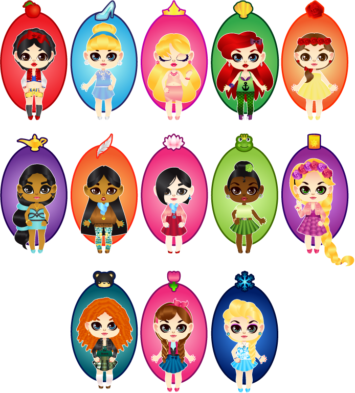 jpg transparent library Chibi disney princesses by. Drawing princess kawaii cute