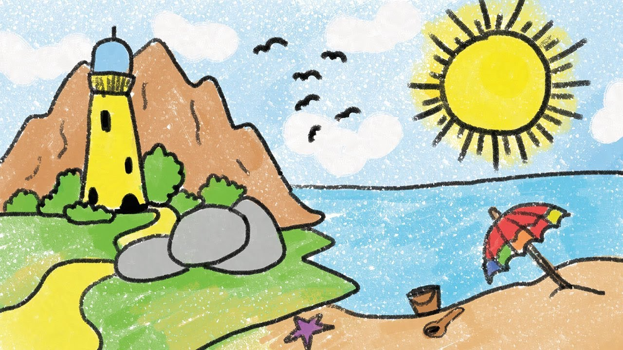 banner transparent library Drawing seashore kids. Simple beach for kid