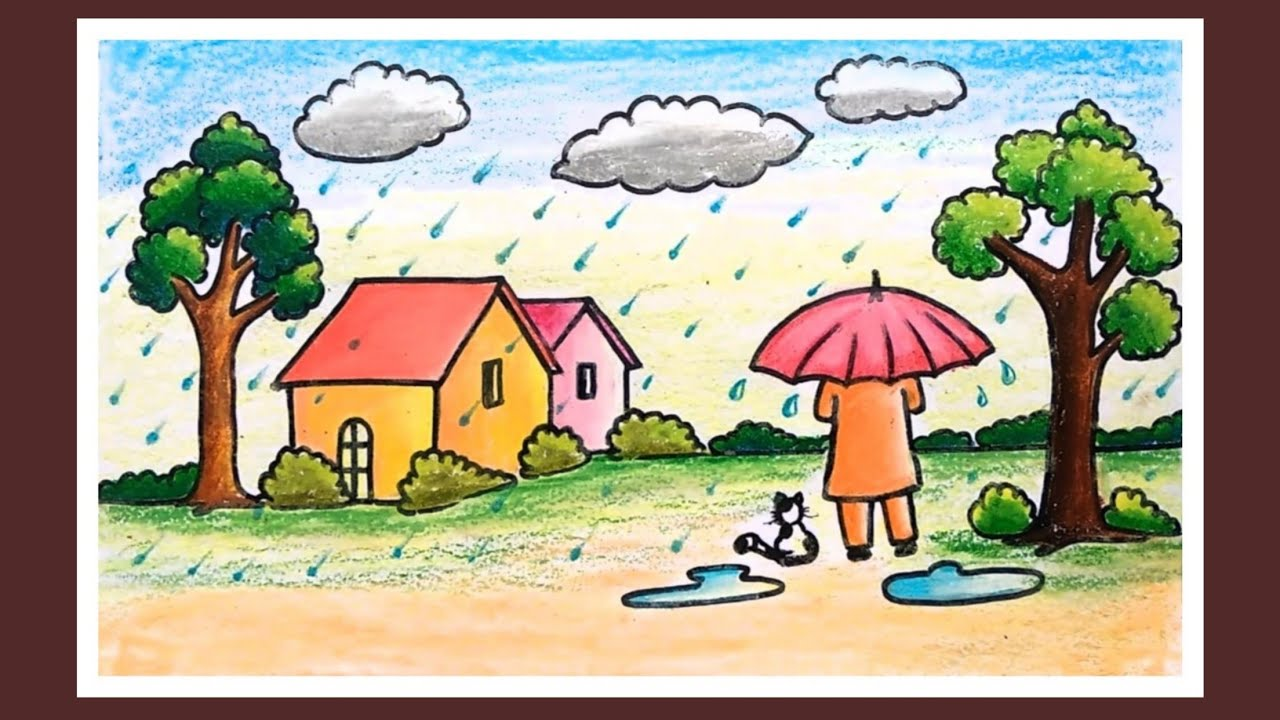 jpg free download Drawing topic rain. How to draw rainy
