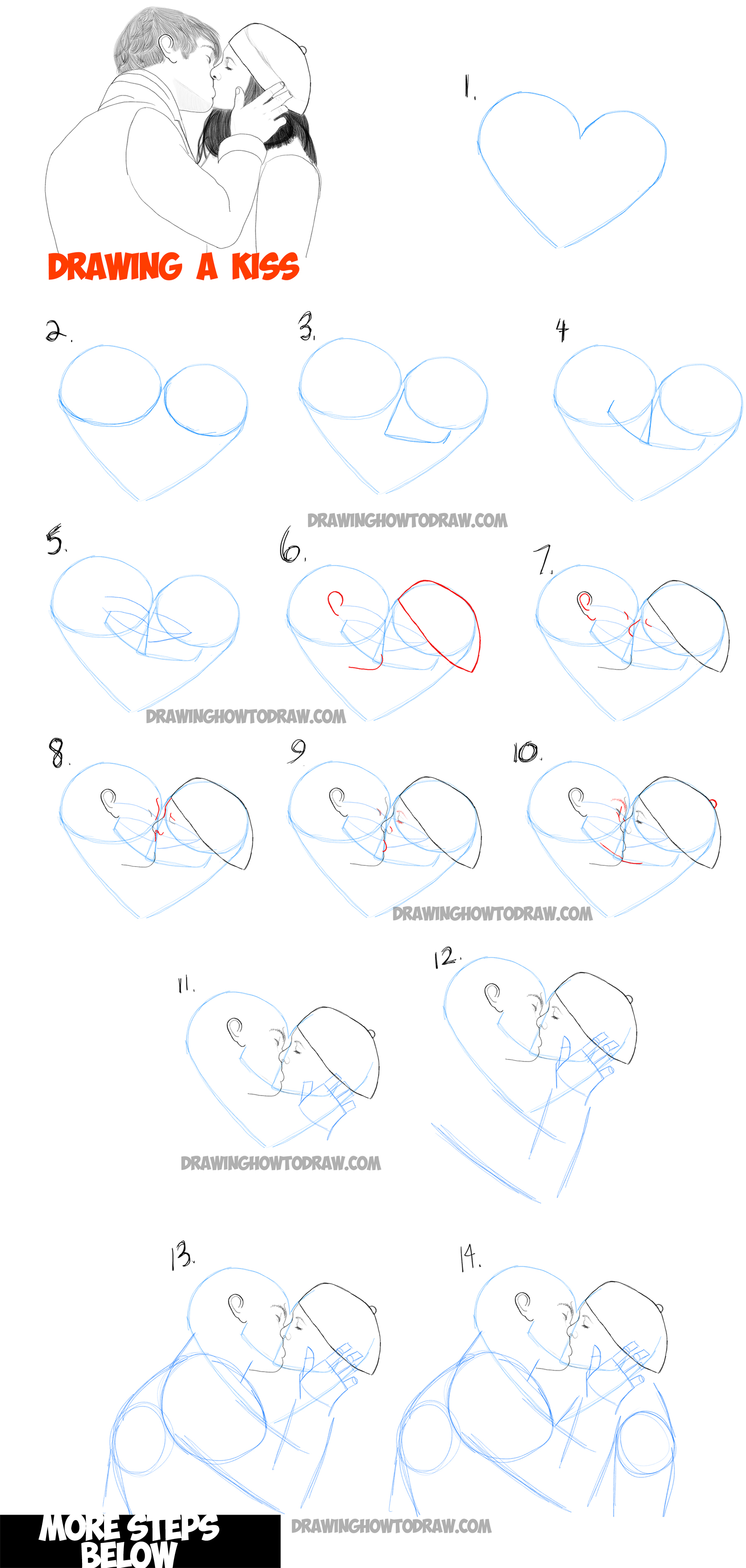 free download Drawing kisses. How to draw romantic.