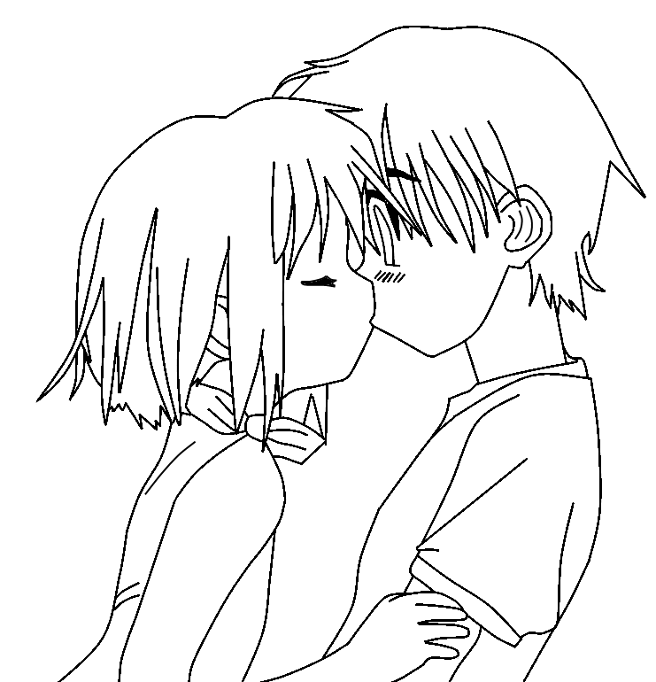 clip black and white download Anime cute couple at. Drawing pic love