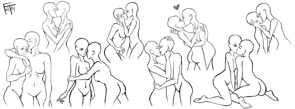 banner library library Drawing kisses poses. Yuri couples reference sheet