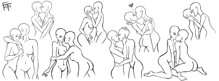 picture transparent stock Tutorial character hugs couple. Drawing kisses poses