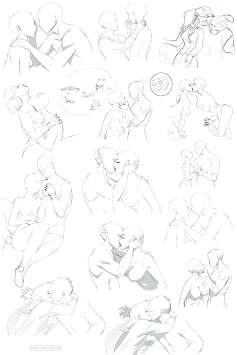 clip black and white Anime kissing at paintingvalley. Drawing kisses poses.