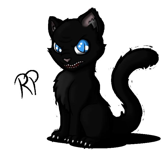 graphic black and white Kerberos the Evil Kitten by Ravenpuff on DeviantArt