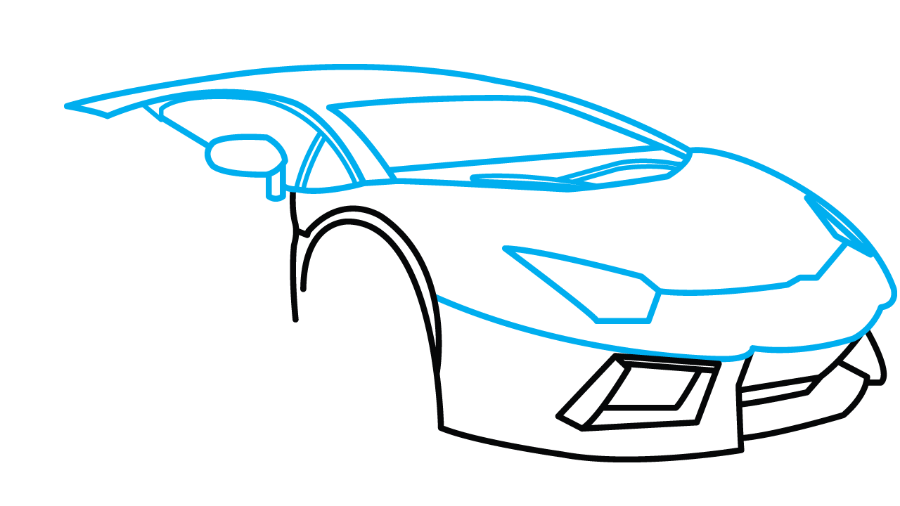 picture black and white How to Draw Lamborghini Aventador