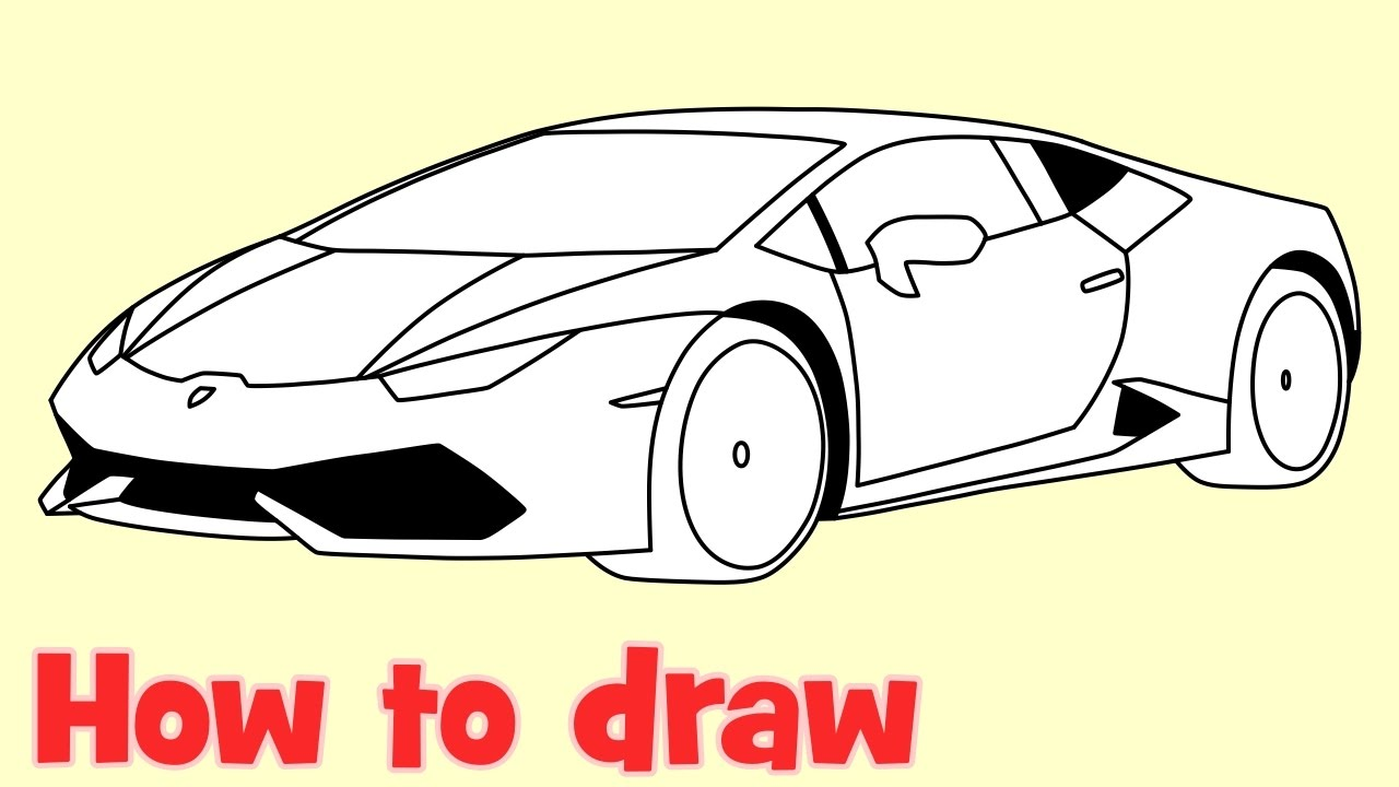 clip art black and white library How to draw a. Drawing lambo.