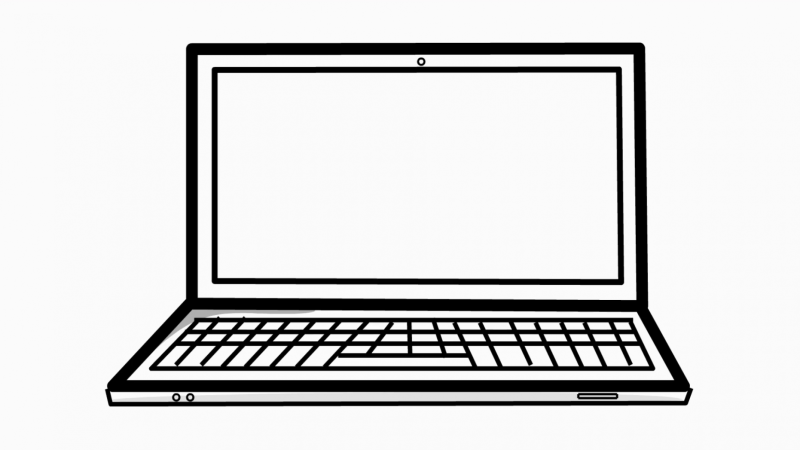 png download Drawing laptops illustration. Laptop computer line animation