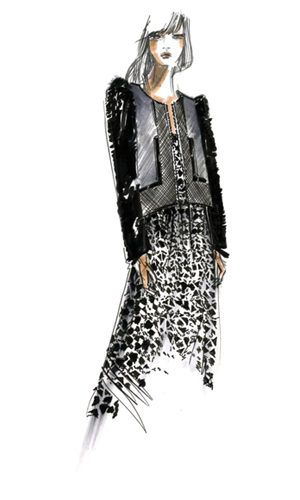 clipart stock Fall fashion color trends. Drawing outfits leather