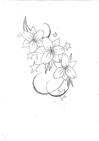 clip art royalty free stock Lily Flowers n Stars Tattoo Design