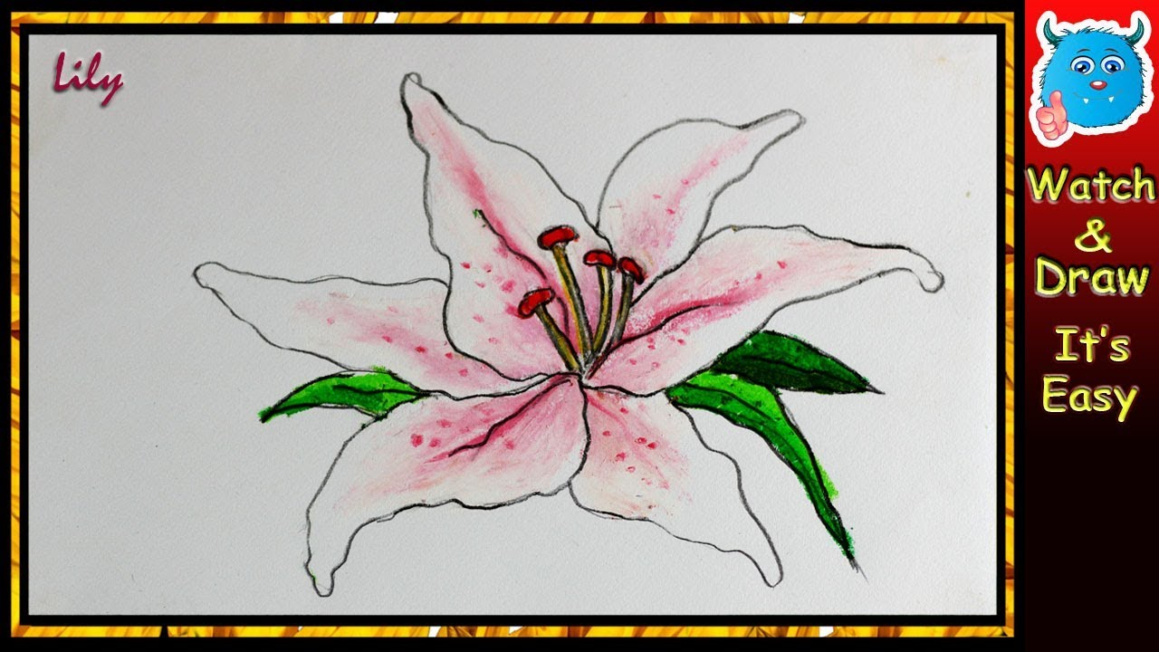 clipart free download How to Draw Lily Flower Drawing Tutorial in Oil Pastel Very Easy