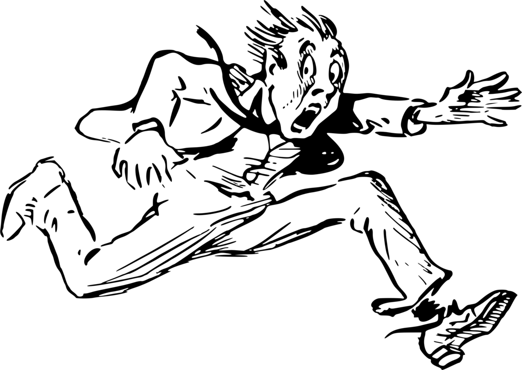 vector black and white stock Drawing running man. Line art cartoon black