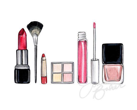 vector freeuse library Drawing makeup. Illustration art print fashion