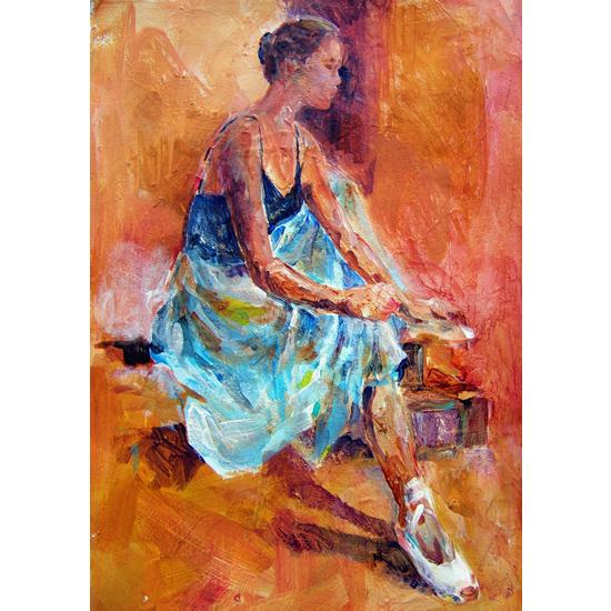library Ballet Dancer Painting Ballerina Pulling Ballet Shoes On