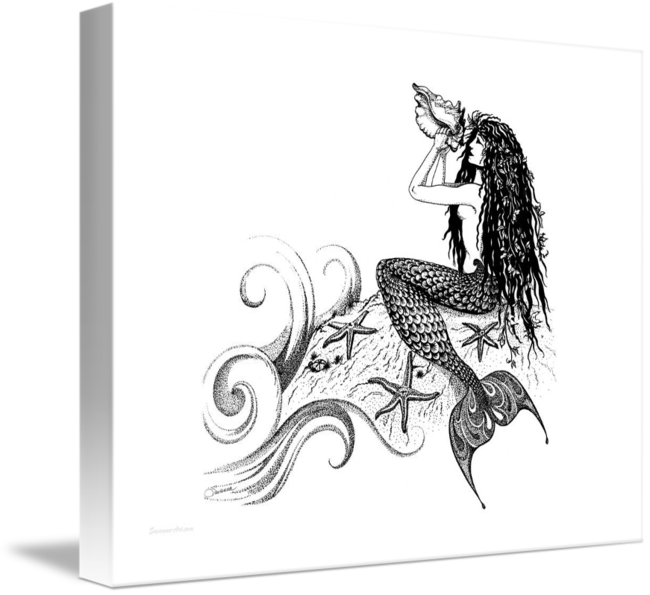 png freeuse download Mermaid Blowing a Conch Shell by Savanna Redman