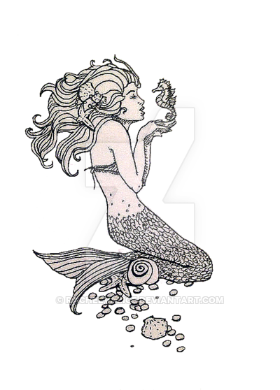graphic Handmade Ink Drawing of Mermaid Kissing Seahorse by rachelvalice on