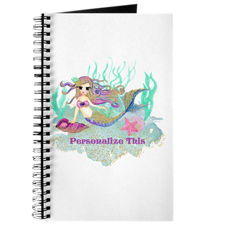 svg free library Cute Personalized Mermaid Journal by So