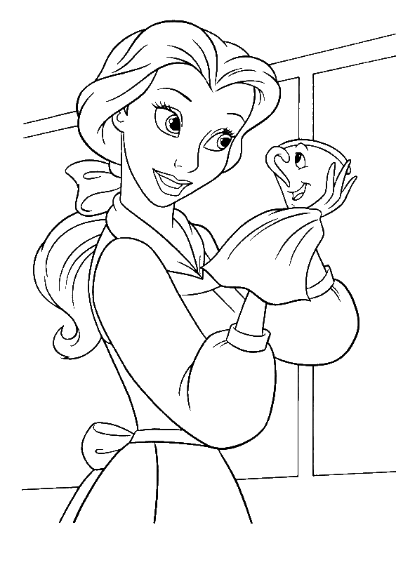 clip art royalty free download Drawing princess beauty and the beast. Coloring page printable belle