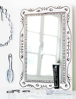 clip black and white library DIY mirror frame made with a sharpie