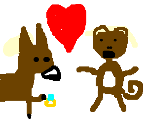 clipart free library donkey declaring his love to a monkey drawing by Hellobatsy