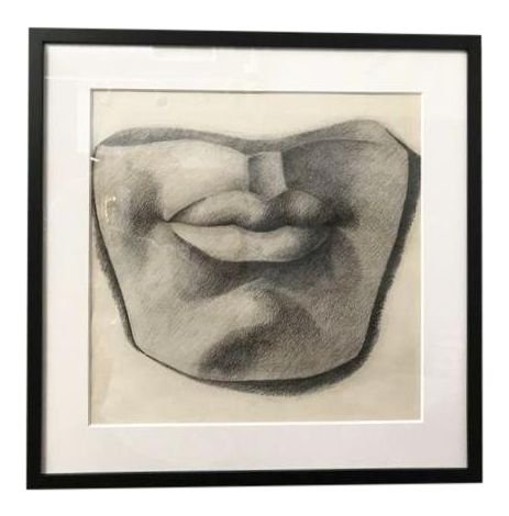 picture black and white drawing mouth charcoal #95198477
