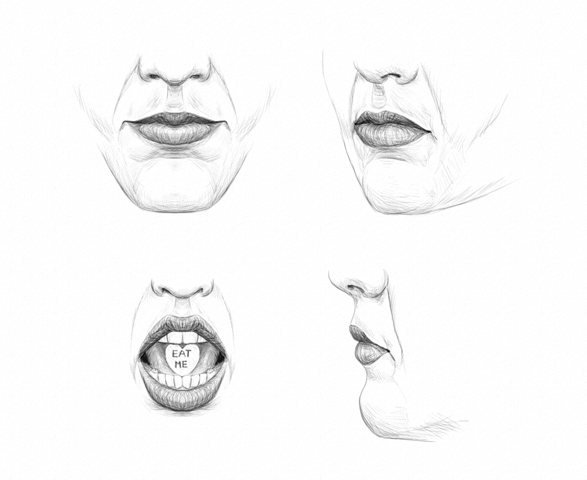 graphic black and white download Drawing mouth nose. How to draw lips