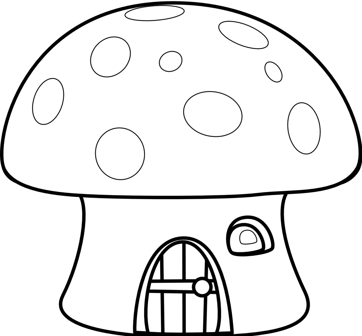 clipart free drawing mushroom black and white #95248832
