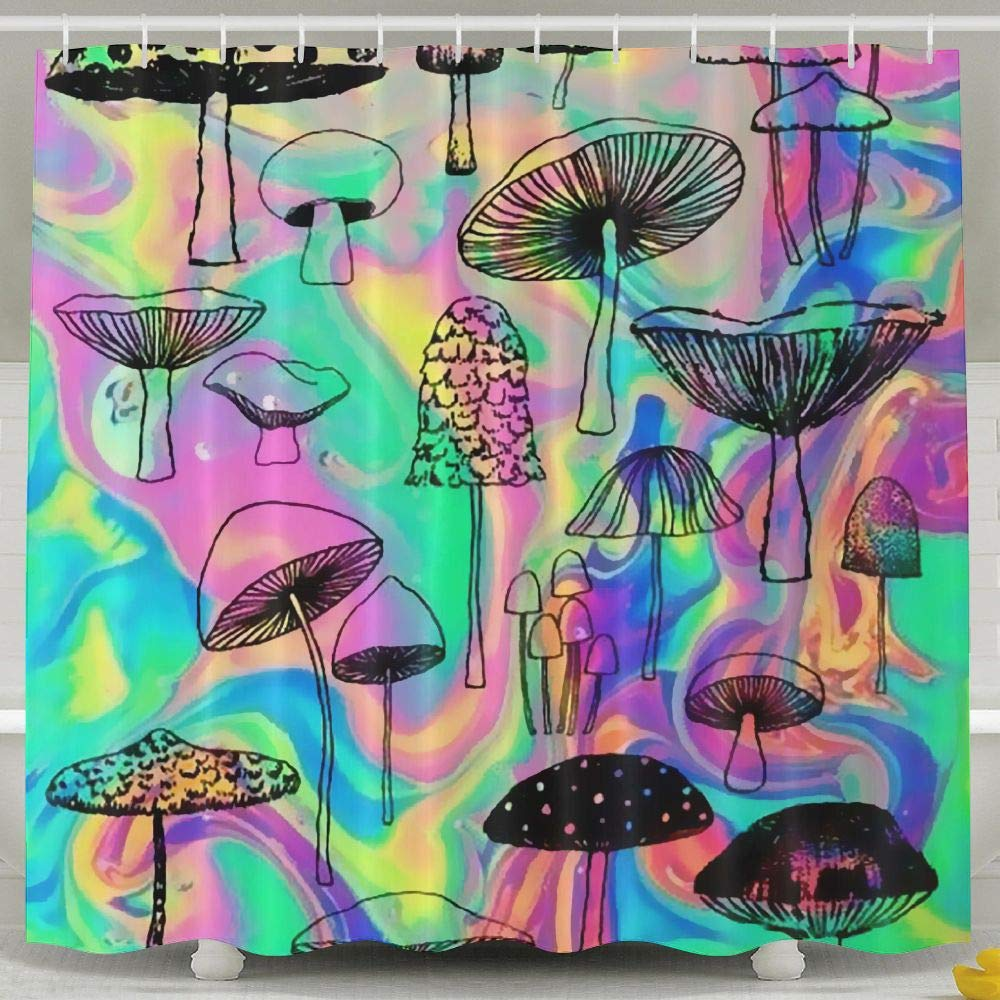 png transparent Drawing mushroom hippie. Waterproof shower curtain trippy.