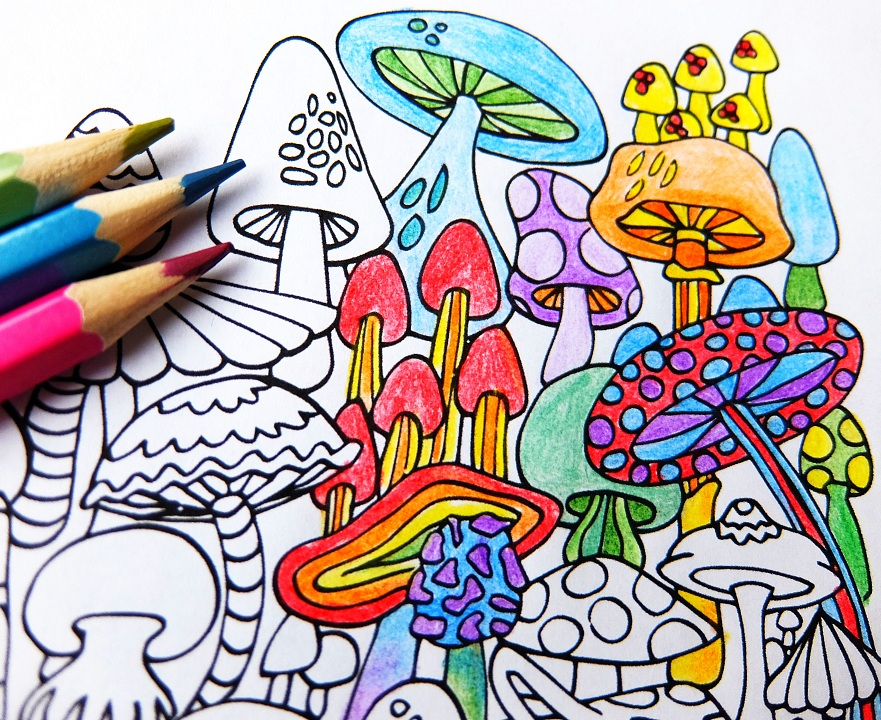 download Mushrooms coloring page . Drawing mushroom hippie.