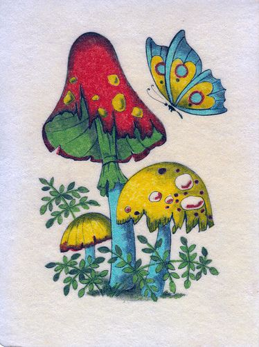 png transparent Drawing mushroom hippie. Vintage psychedelic felt butterfly.