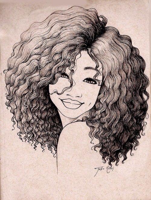 image freeuse Natural hair art at. Drawing naturally.