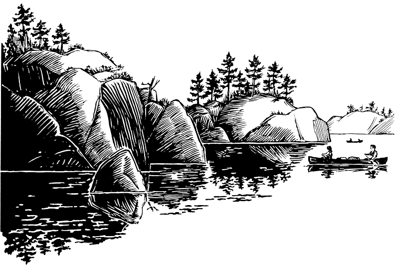 svg free stock Drawing reflections black and white. Canoe trips for the