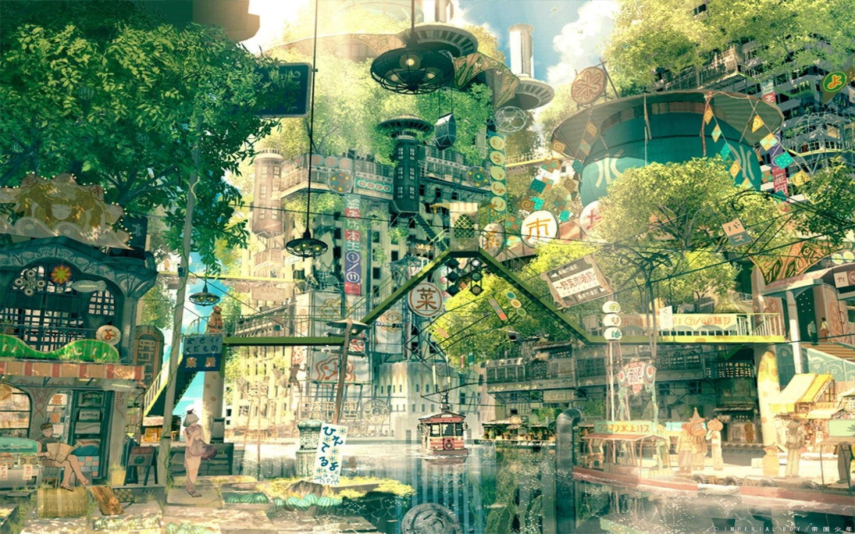 graphic freeuse stock Wallpaper japan cityscape anime. Drawing nature city