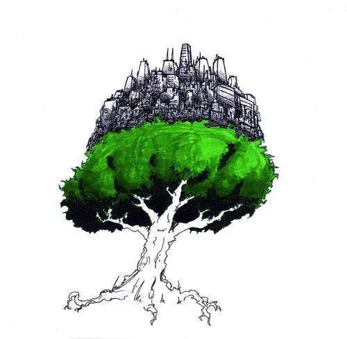 image free stock Civilization tree by robobenito. Drawing nature city