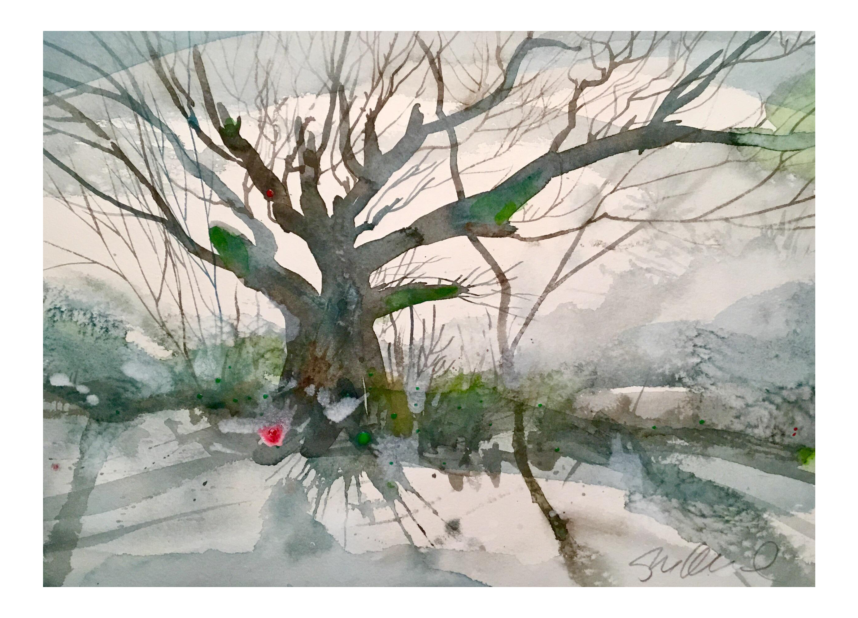 clip transparent Snow branches original painting. Drawing nature watercolor