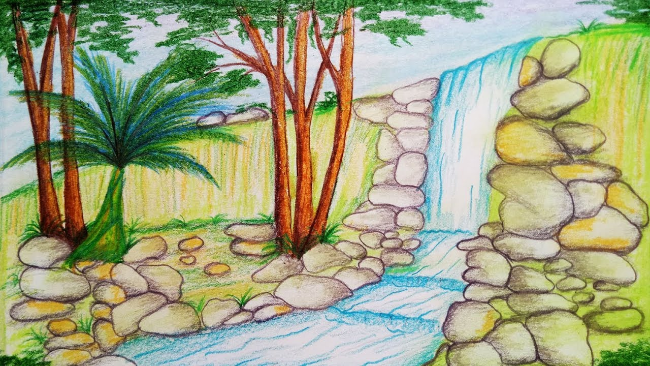 svg free stock How to draw scenery. Drawing nature waterfall