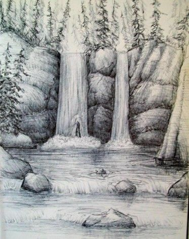 clipart library Drawing nature waterfall. How to draw a