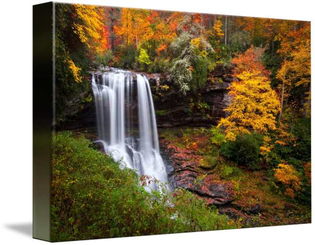 vector black and white Drawing nature waterfall. Autumn at dry falls