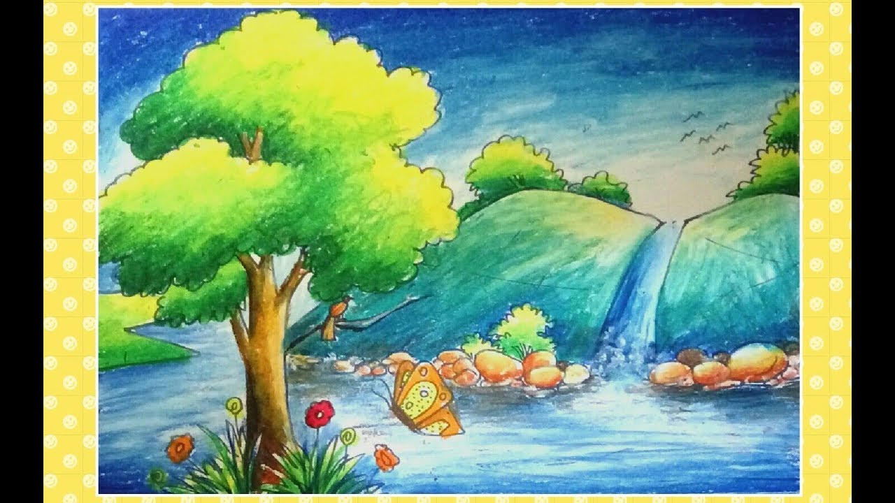 jpg freeuse library Drawing nature waterfall. A natural step by