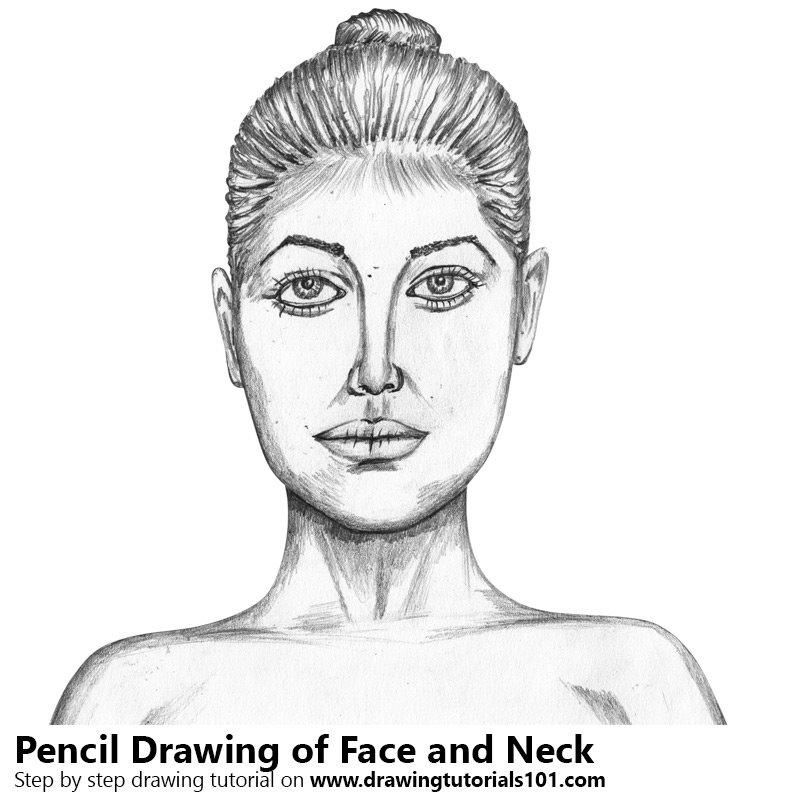 jpg black and white Drawing necks female. Face with neck pencil
