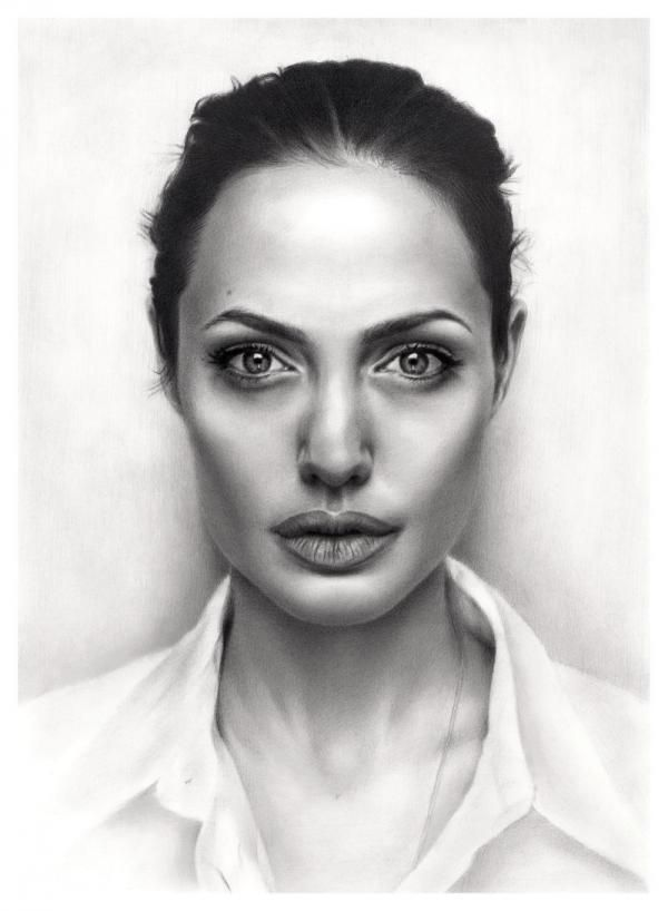 graphic stock Angelina jolie this is. Drawing neck realistic